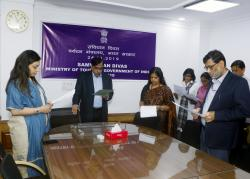 Constitution Day was celebrated in Ministry of Tourism at Transport Bhawan, New Delhi on 26.11.2019 with reading of the Preamble under the leadership of Secretary (Tourism).